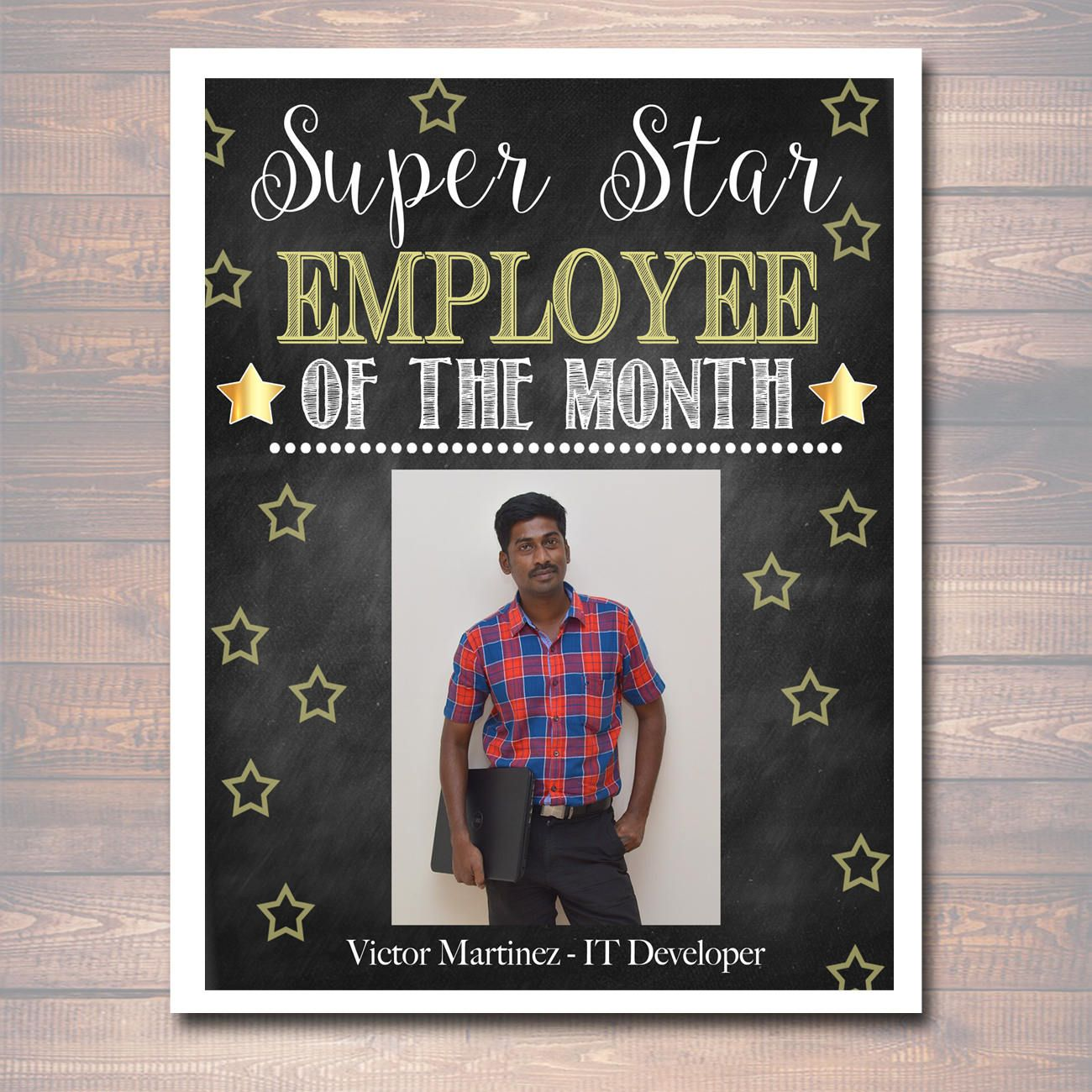 Editable Employee Of The Month Printable Office Printable Etsy Employee Appreciation Board Employee Recognition Board Employee Recognition
