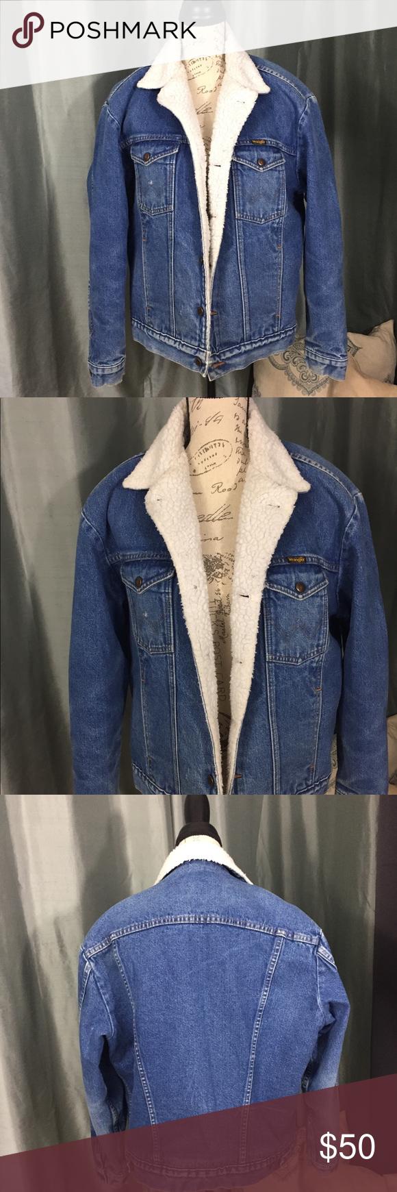 Vintage Wrangler Sherpa Lined Denim Coat Vintage Wrangler Denim Coat Clothes Design [ 1740 x 580 Pixel ]