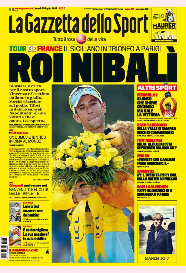 Gazzetta dello Sport di lunedì 28 luglio 2014 non esiste