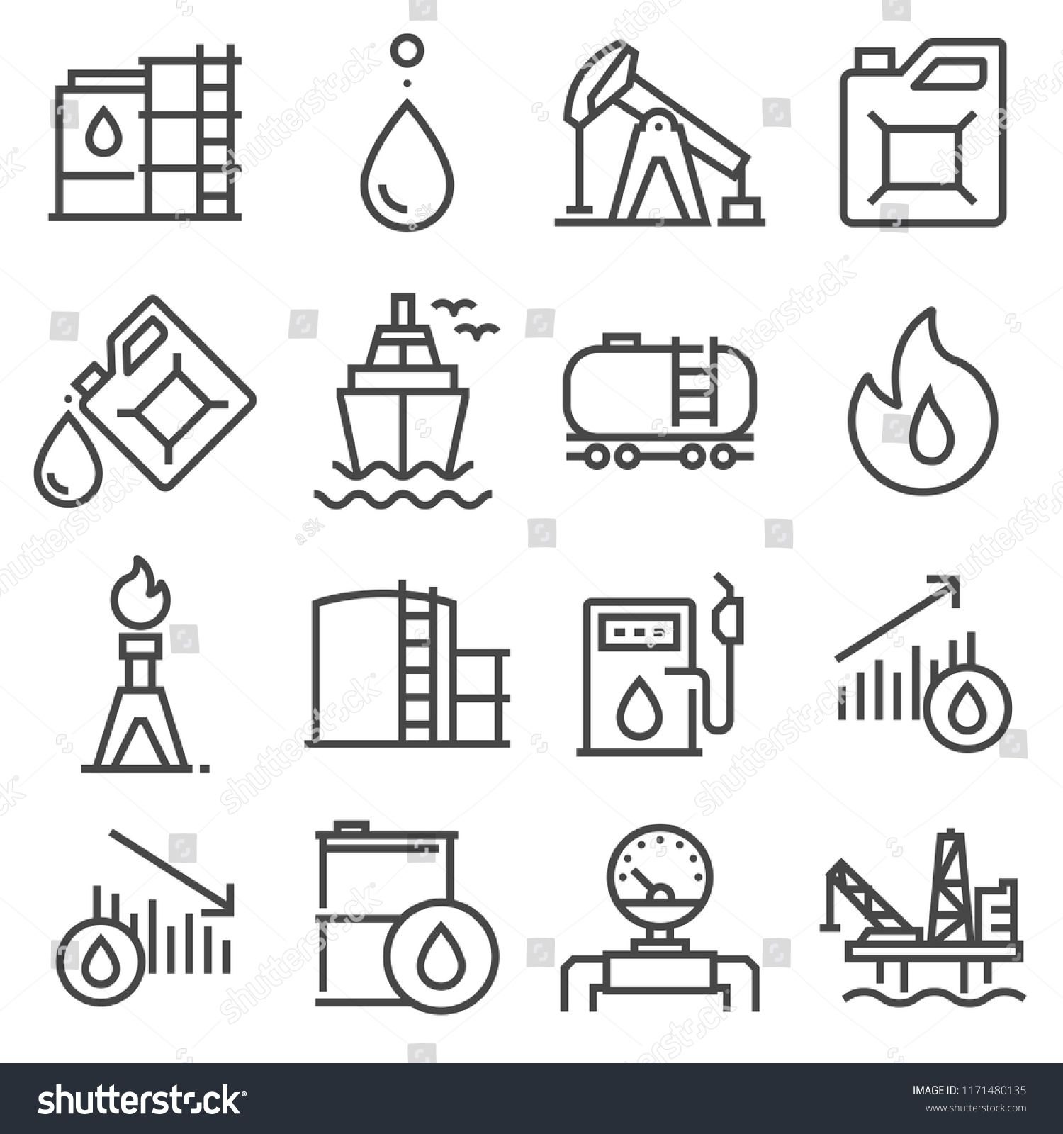 Industry Oil Linevector Icon Set Oil Jack Vector Canister