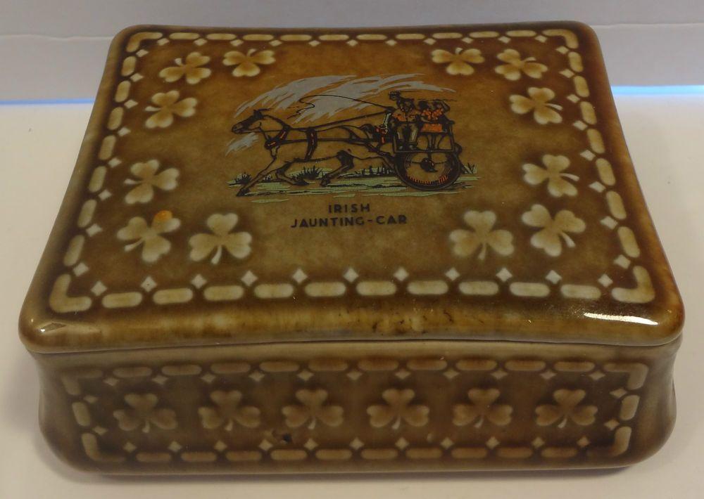 Irish Porcelain Wade co. Armagh trinket box Irish jaunting car FREE SHIPPING