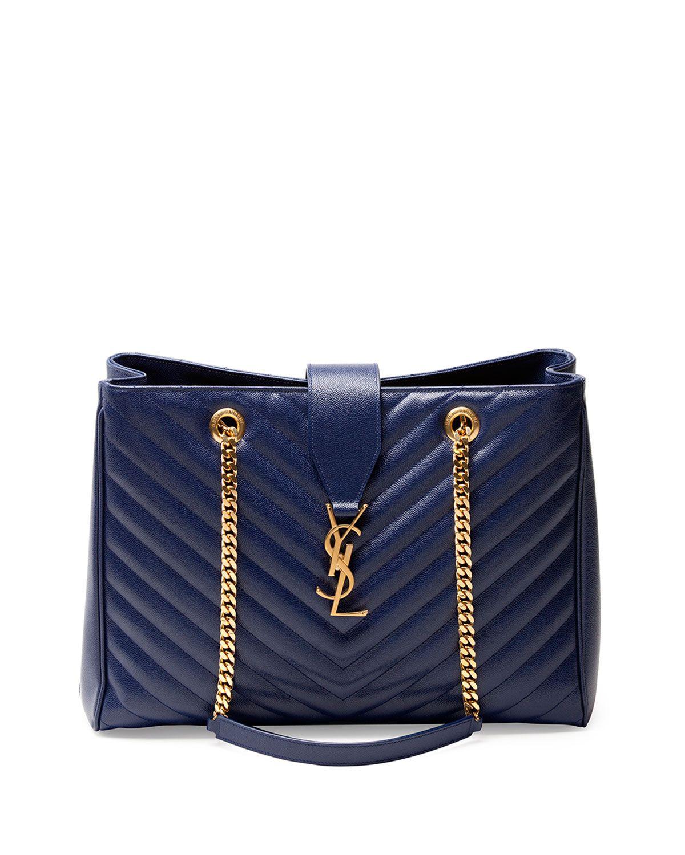 5383bd0abd YSL Navy Shopper Bag. YSL Navy Shopper Bag Navy Blue Handbags