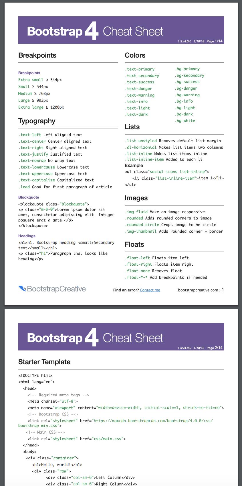 18+ Bootstrap 4 Cheat Sheet PDF