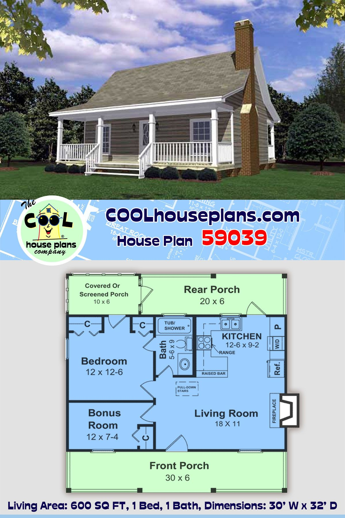 Southern Style House Plan 59039 With 1 Bed 1 Bath In 2020 House Plans Southern House Plan Shed To Tiny House