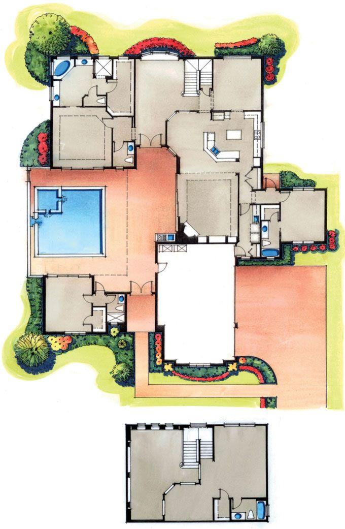 four bedroom courtyard floorplan plans i heart