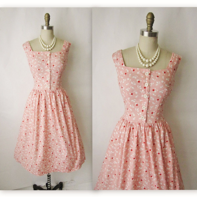Vintage Cherry Print Dress // Vintage 1950\'s by TheVintageStudio ...