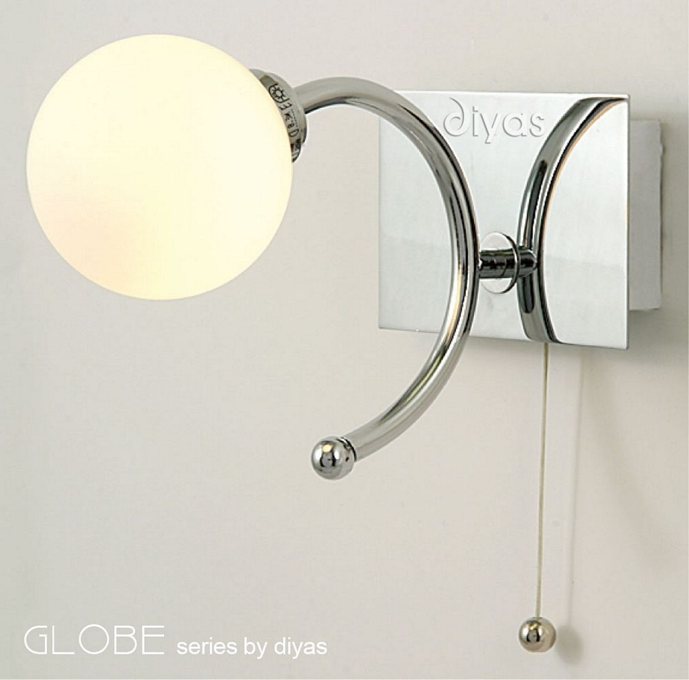 California Ip44 Wall Light With Round Opaque White Shade And Pull Cord Wall Lights Led Dengan Gambar