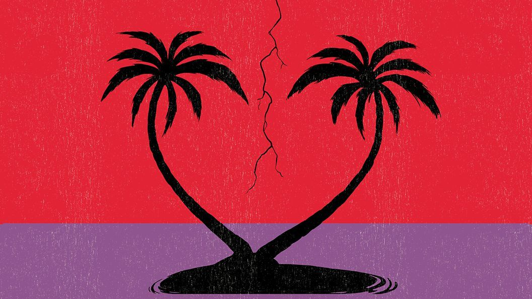 An illustration of two palm trees on a desert island in