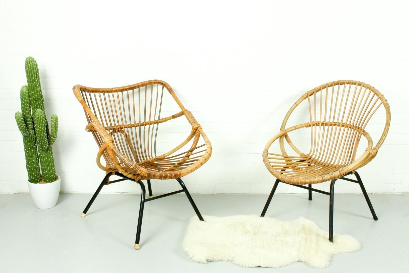 Set Of Rattan Lounge Chairs Rohe Noordwolde 1950s