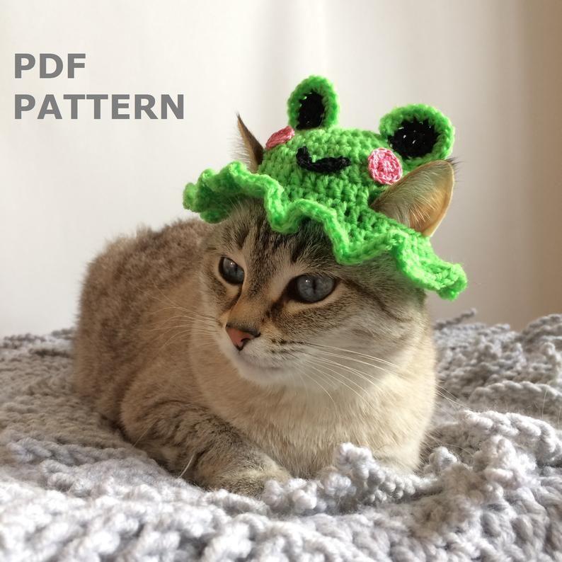 Crochet Hat For Cat Frog Hat Crochet Pattern For Pets Bucket Frog Hat Funny Hat Cat Beanie Sun Hat In 2021 Crochet Hats Cat Hat Pattern Crochet Cat Hat