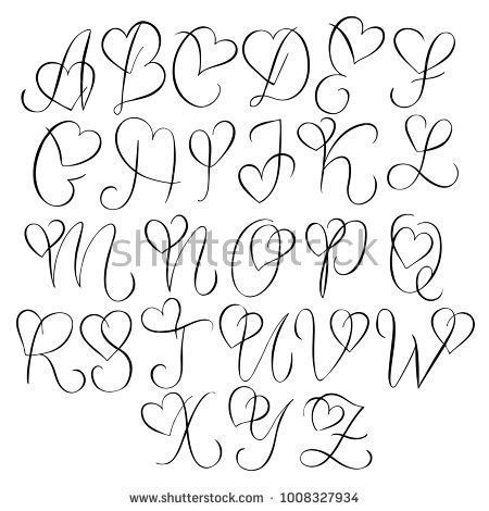 Hand drawn alphabet - calligraphy letters with heart curls - typography and handlet ... - Trend Tattoo Fonts 2019