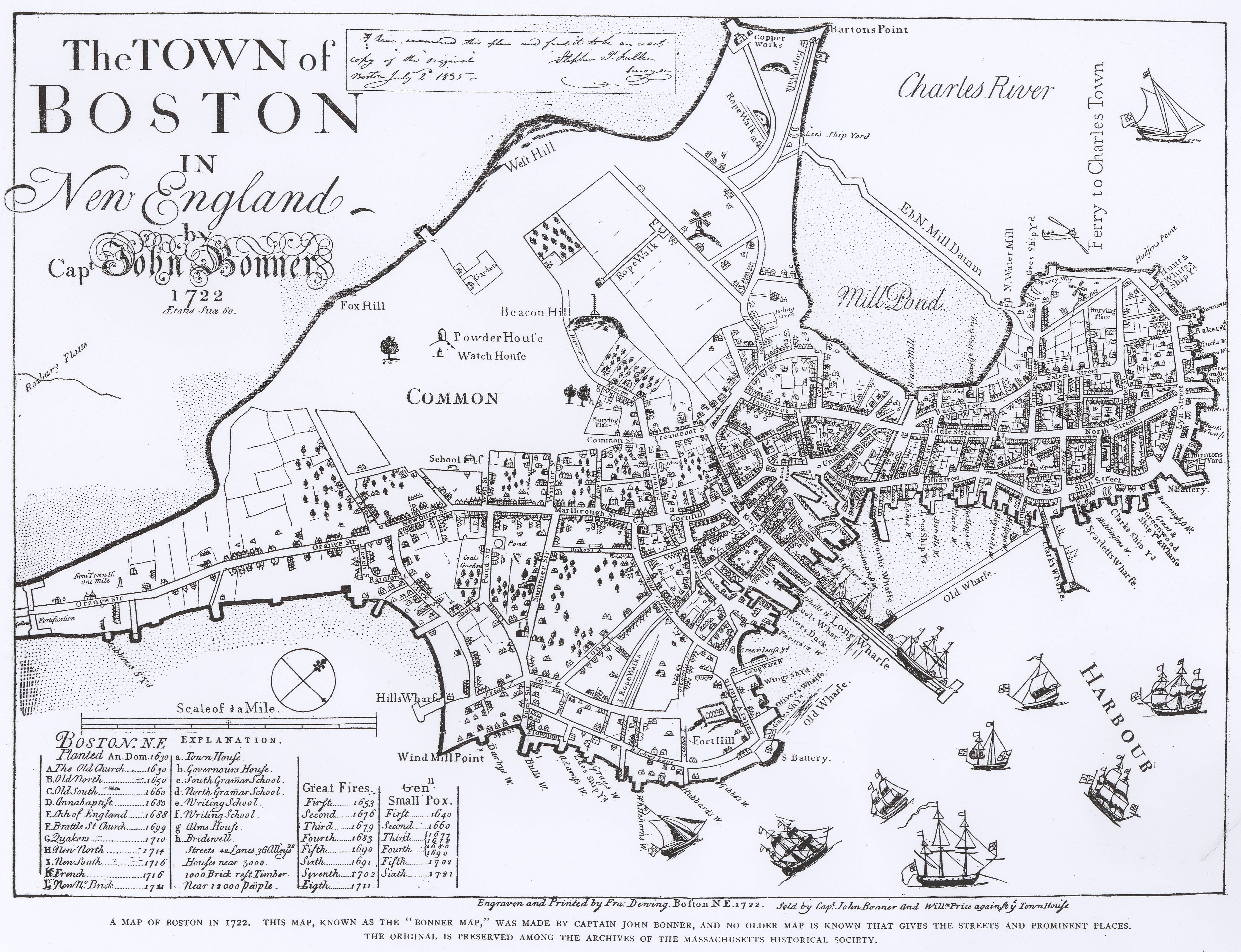 bonner map of boston   boston  pinterest  massachusetts - massachusetts · bonner map of boston