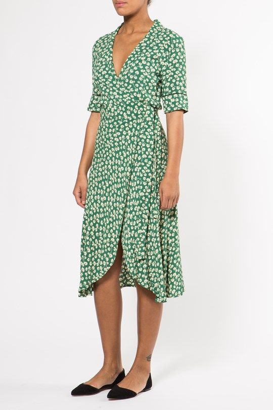 00f32ced Ganni - Dalton Crepe Wrap Dress Verdant Green large-2 | Spring 2017 ...