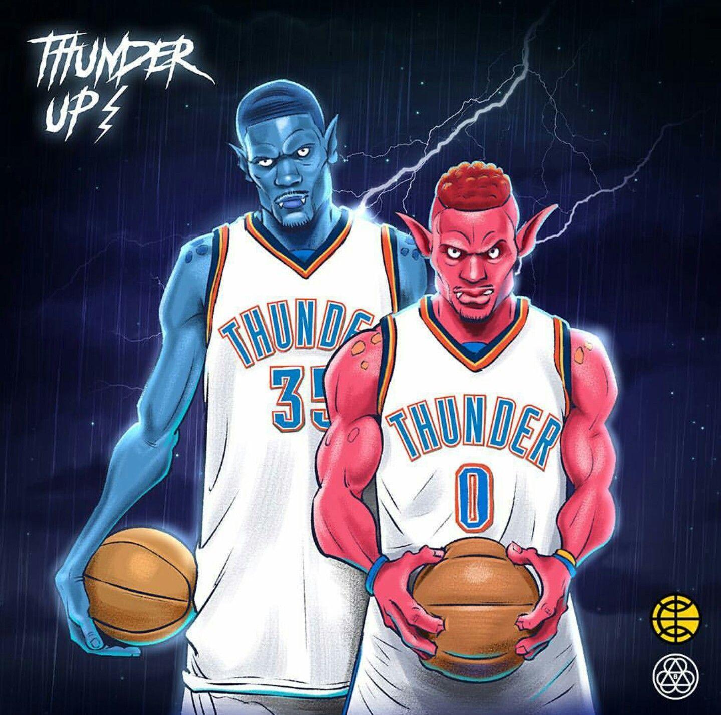 Durant westbrook nba art basketball art cartoon art