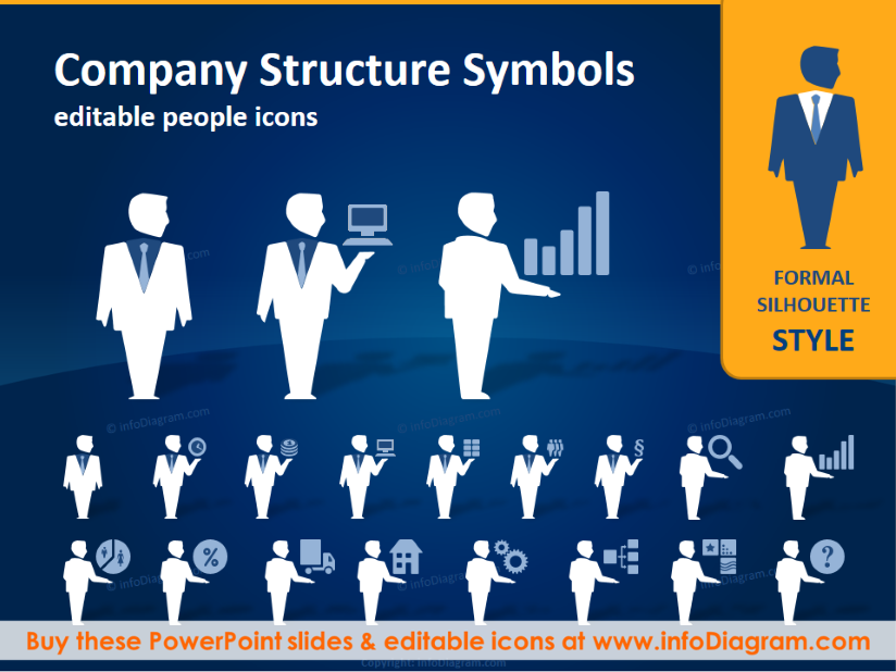 company structure people silhouettes (ppt icons clipart, Presentation templates