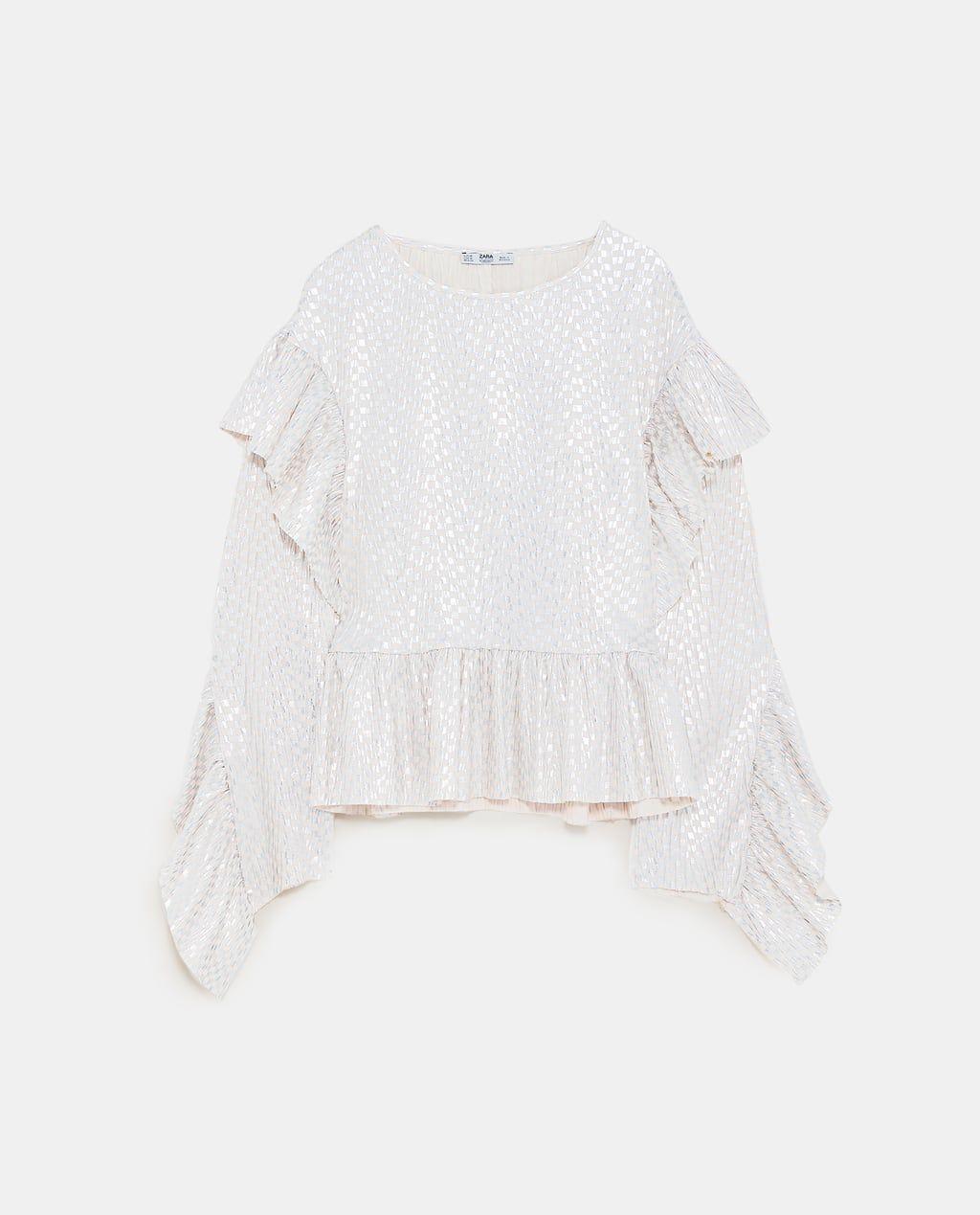 ec0ac80150a6fa Image 6 of SHINY TOP WITH RUFFLES from Zara | Zara Cart in 2019 ...