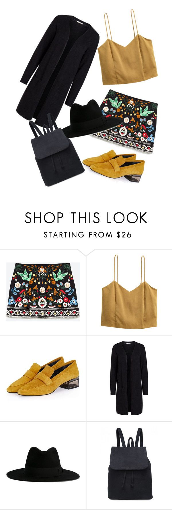 """""""golden girl"""" by mairak17-7 ❤ liked on Polyvore featuring H&M, Topshop and Yves Saint Laurent"""