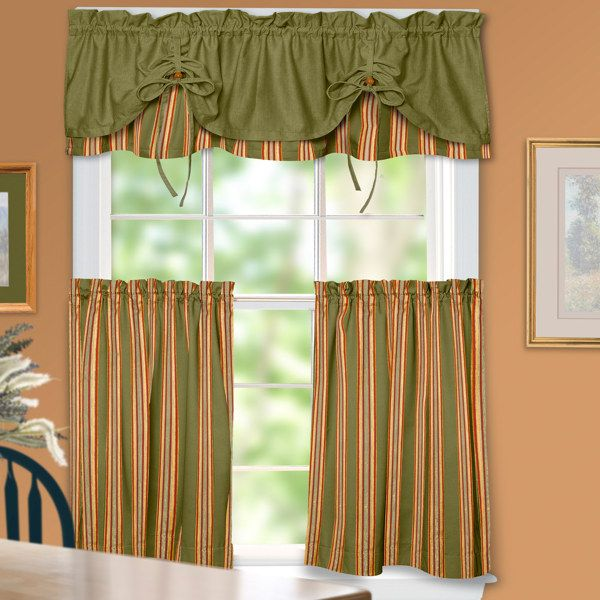 I Like How The Stripes And Double Layer Valance Offer Some Interesting Contrast The Colors Are Also Warm And