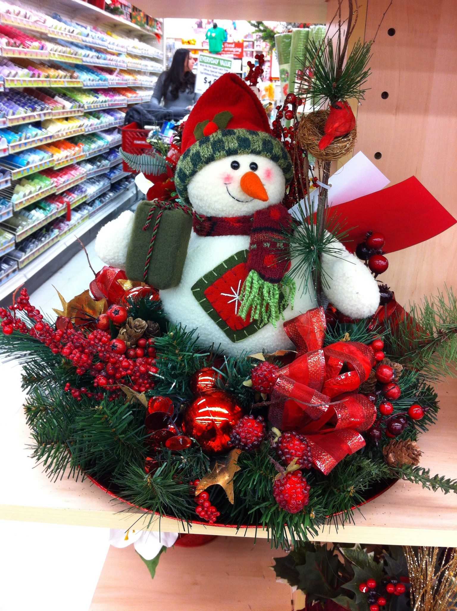 Snowman holiday centerpiece a c moore shrewsbury nj