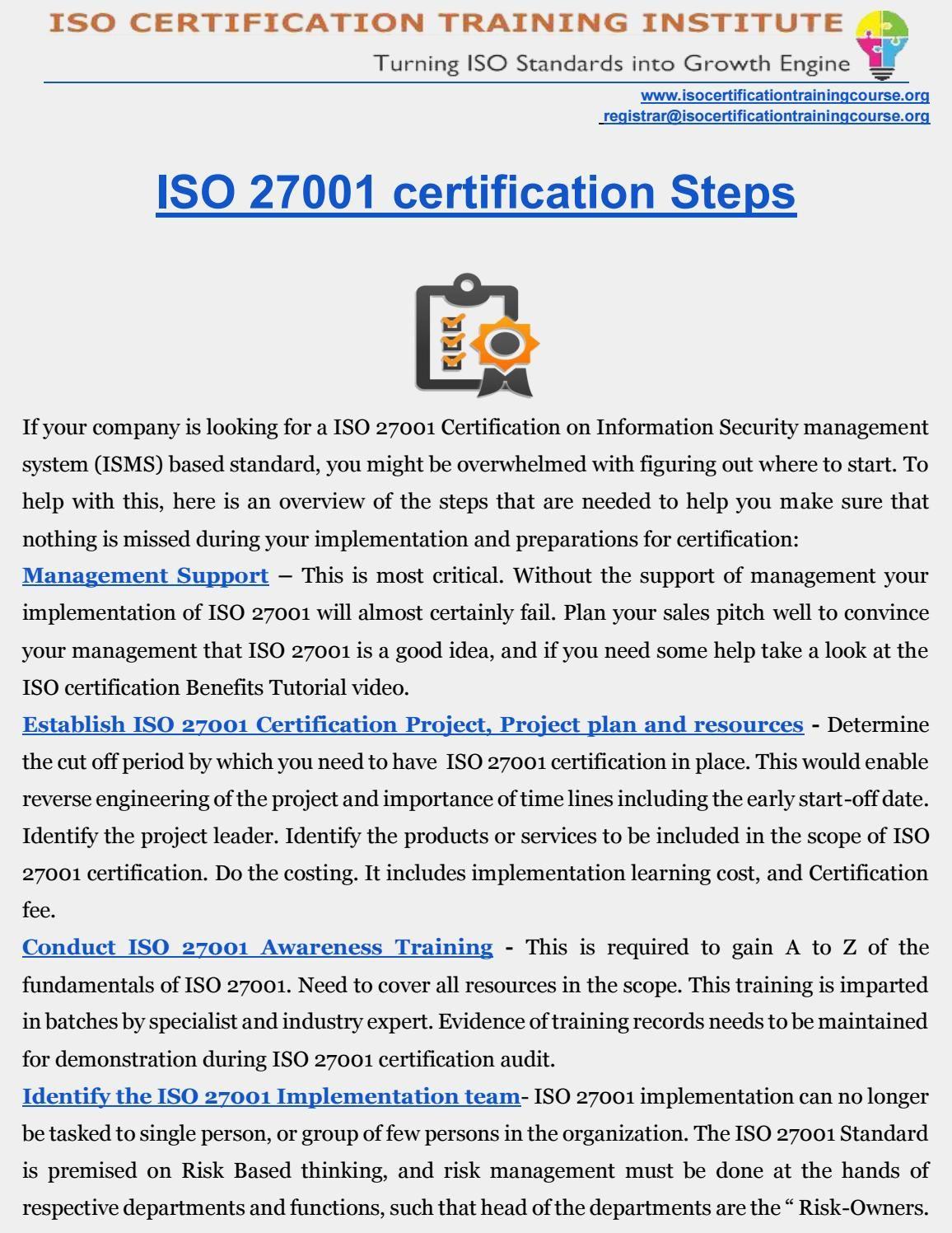 Iso 27001 Certification Iso Training Institute Pinterest Newspaper