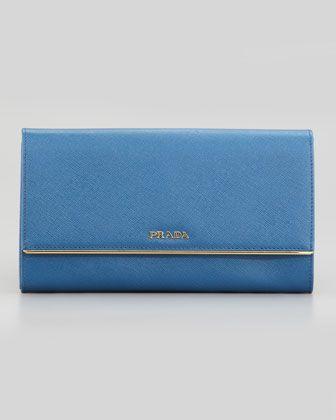 Full Flap Continental Wallet & Organizer, Bright Blue by Prada at Neiman Marcus.