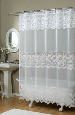 Amazon Com Emily Embroidered Shower Curtain Color White Home