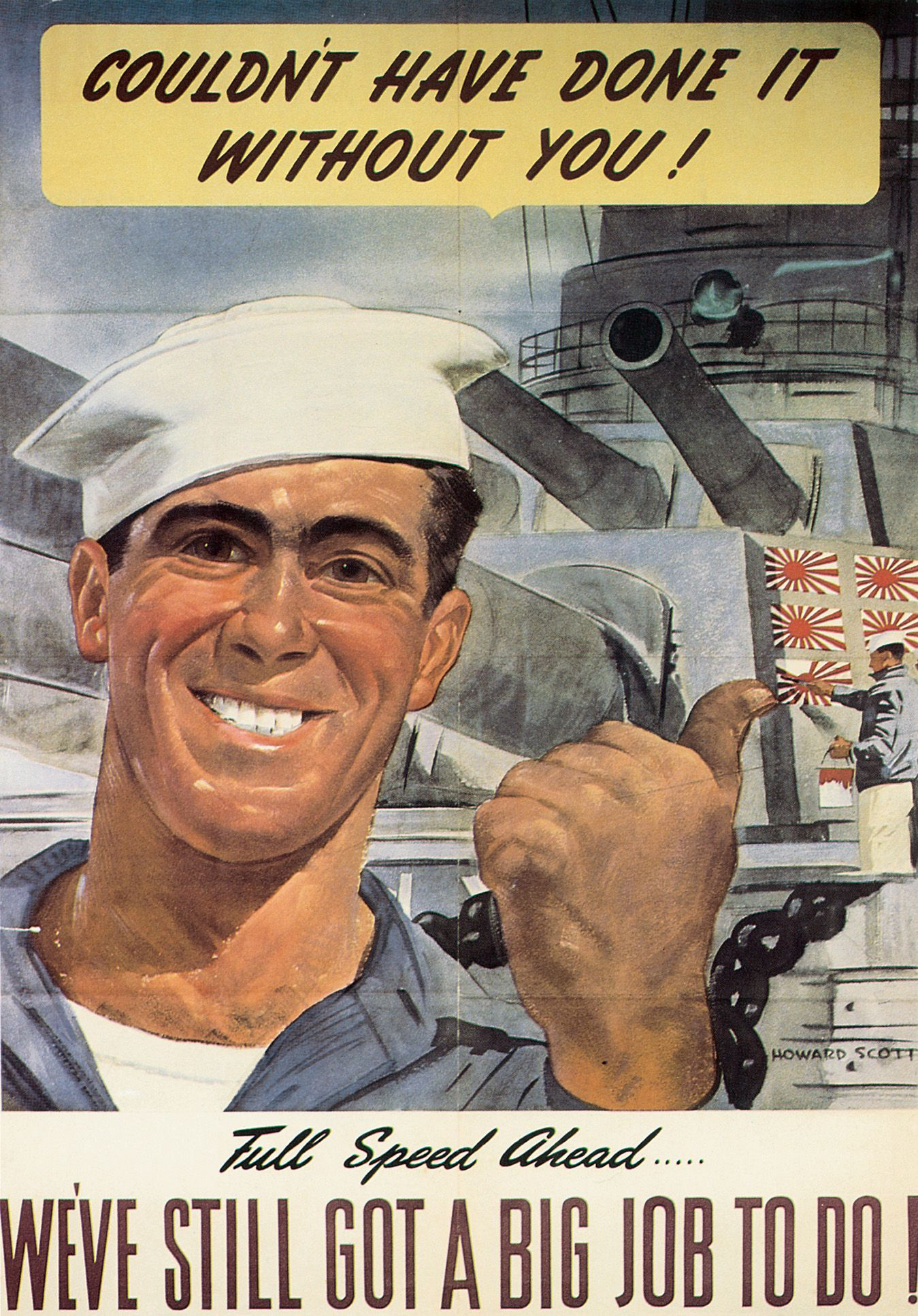 c37b81aa WWII poster, 1943 - showing factory workers how their labor contributes to  the war effort.