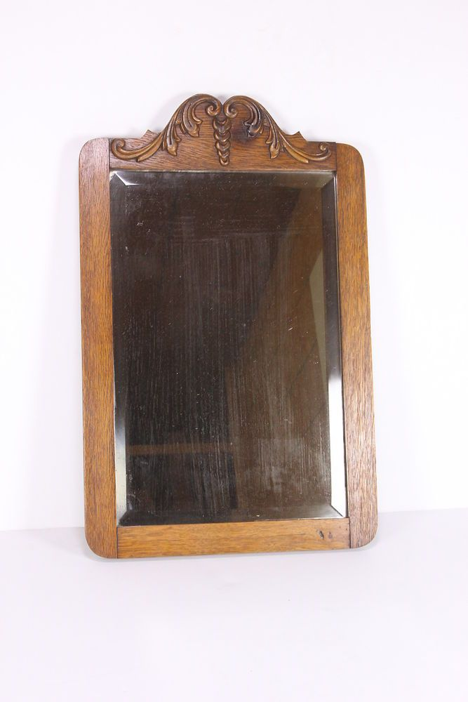 Antique Beveled Glass Solid Oak Frame Wooden Mirror Heavy Vintage