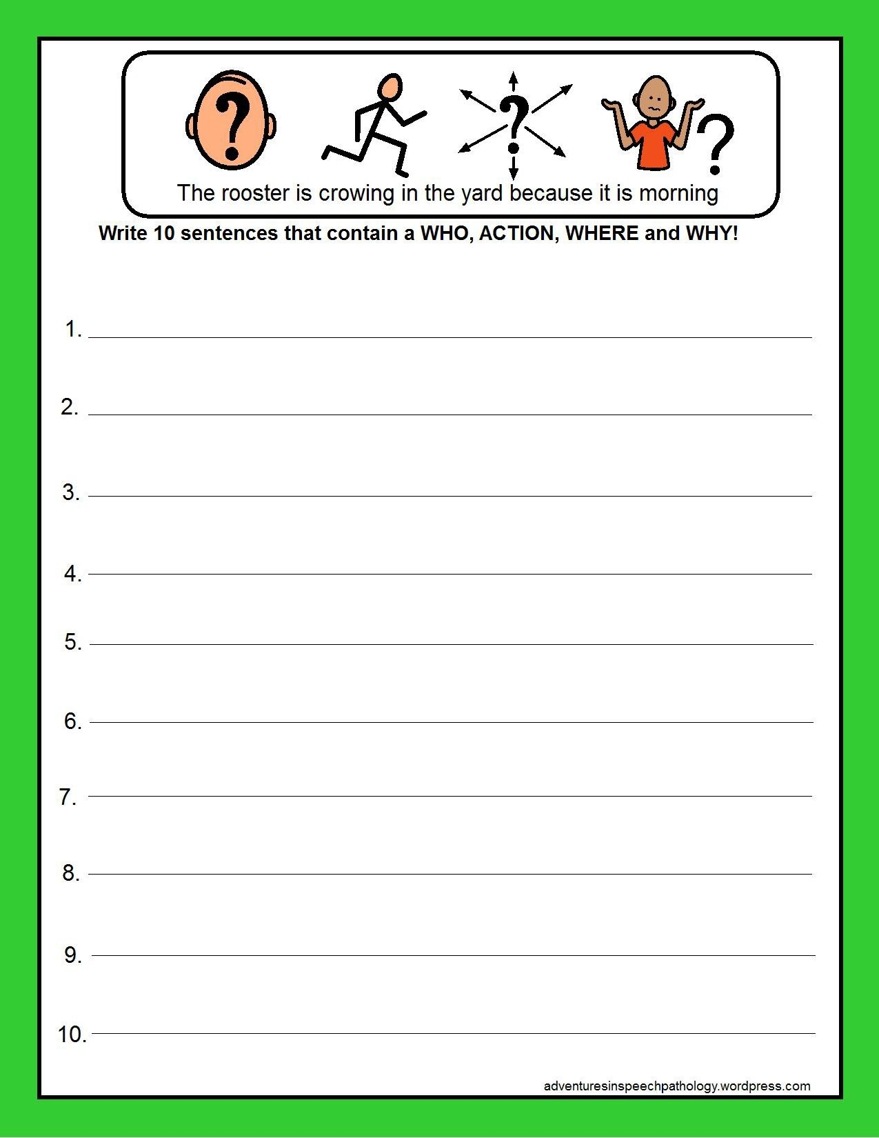 Worksheets For Why Sentence Structures To Help Students
