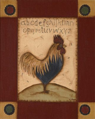 Primitive Rooster Pictures Black /& White Roosters Kitchen Wall Hangings Plaques