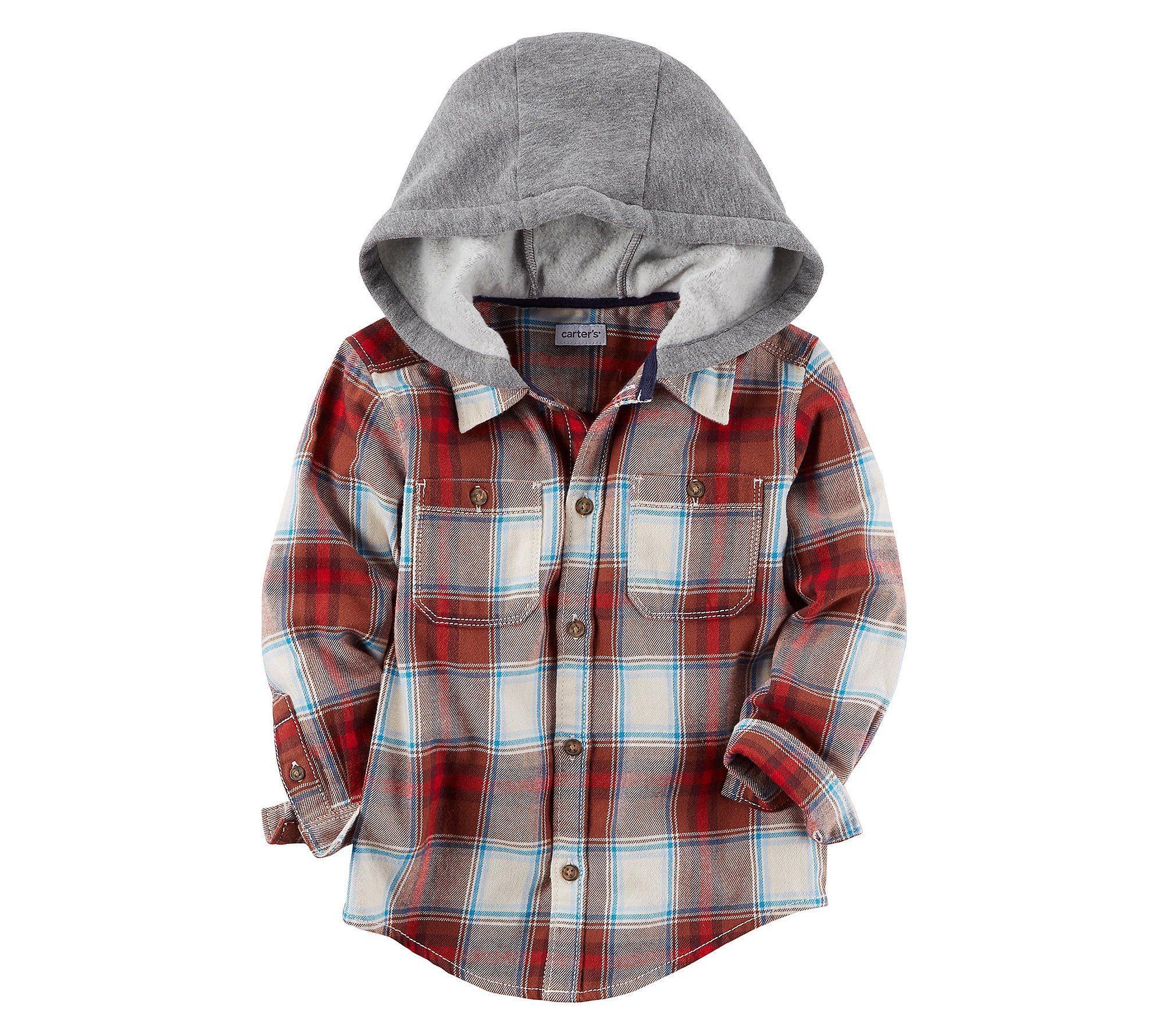 Carters Boys 2T-8 Long Sleeve Plaid Zip up Hoodie