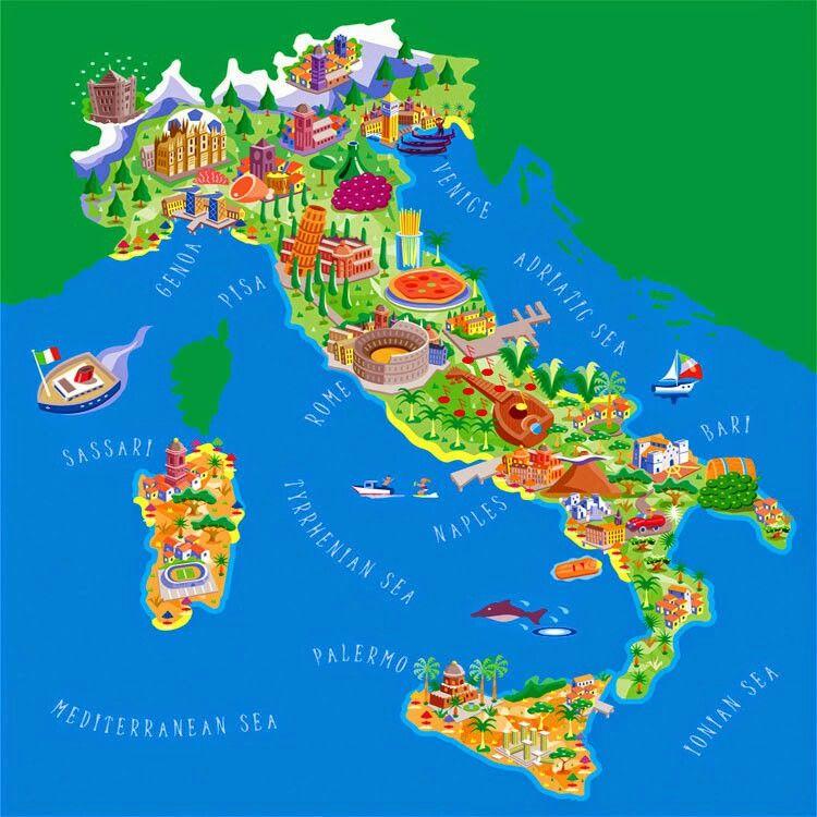 Cartina Tematica Austria.Carta Tematica Mappe Illustrate Mappa Dell Italia Frasi Sull