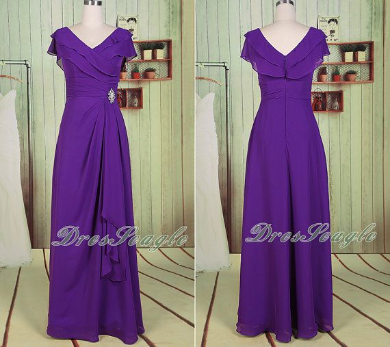 A line V neck chiffon long purple bridesmaid dressV by DresSeagle