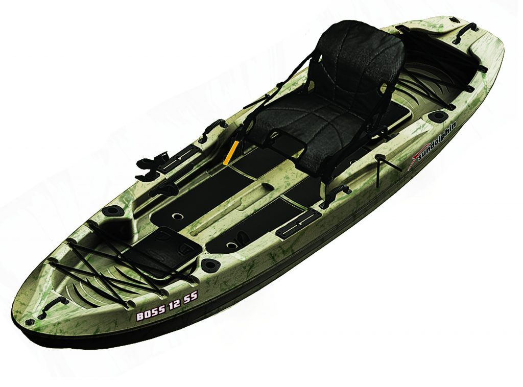 Sun Dolphin Boss 12' Siton/Standup Fishing Kayak, Grass