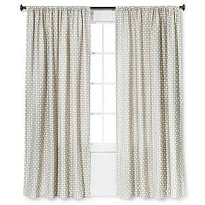 Woven Curtain Panel Creamy Navy Nate Berkus Target