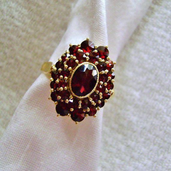 Vintage Bohemian Garnet Cluster Ring Sterling Silver 10K Overlay size 7 1/2
