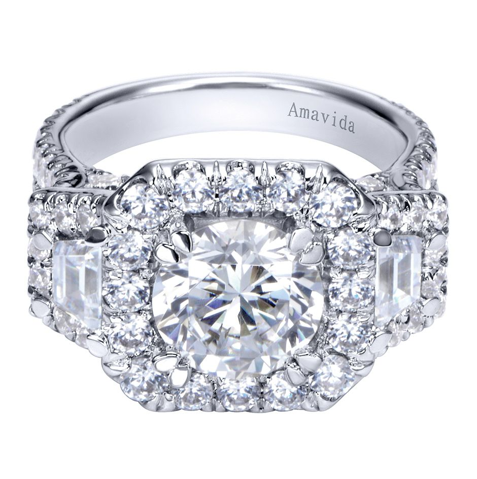18k White Gold Cushion Three Stone Halo Round Diamond