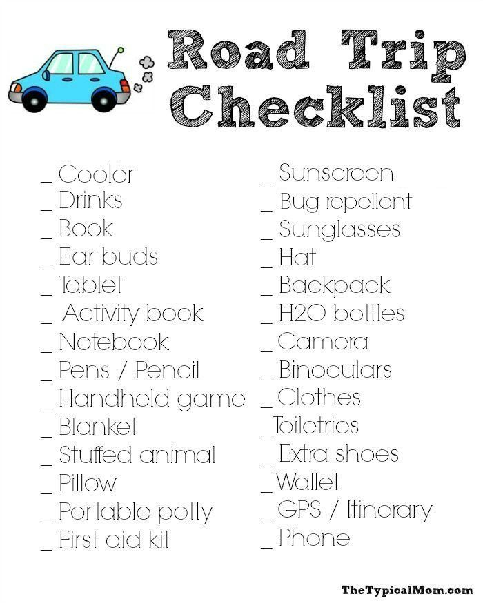 Free Road Trip Checklist So Nothing Is Important And Your Trip Is