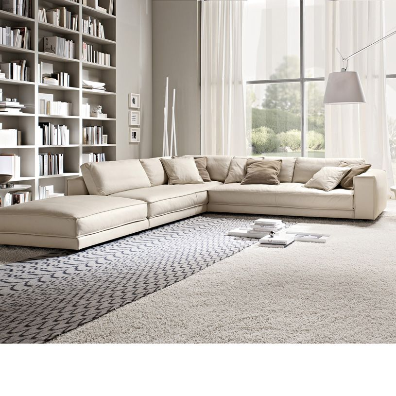 Relax Contemporary Italian Corner Sofa In Cream Leather: Minerale Corner Sofa With Footstool