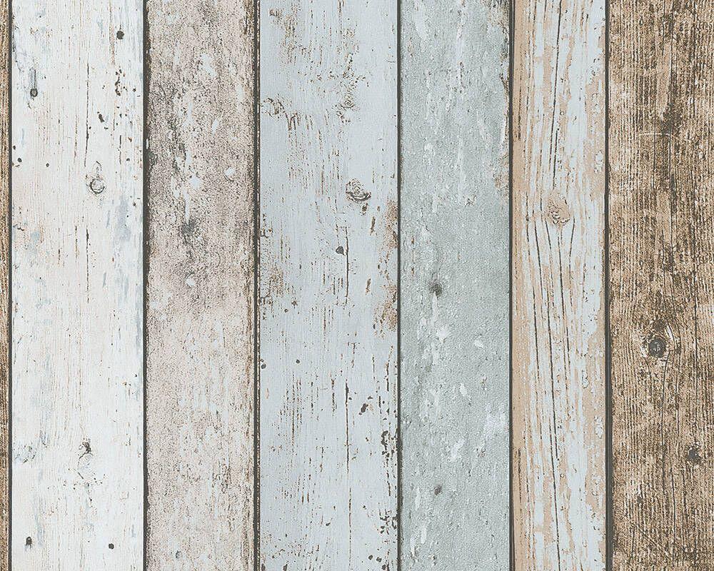 A S Creation Papiertapete Holzoptik Landhausstil Beige Blau Braun 899927 Holz Hintergrundbild Tapetenmuster Tapeten Shop