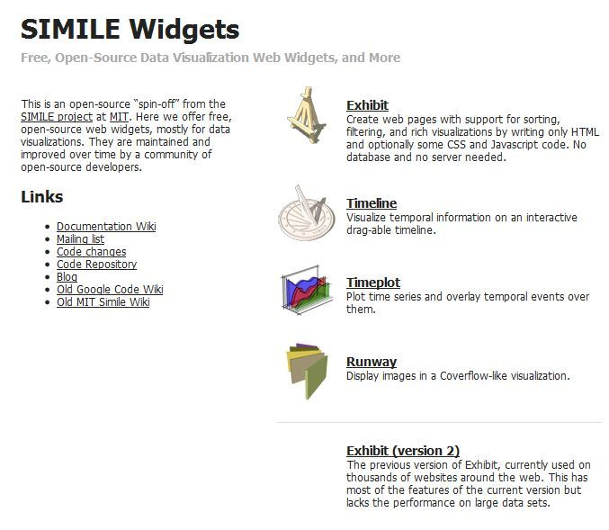 Smile Widgets Simile Is A Free And Open Source Data Visualization Web Widget
