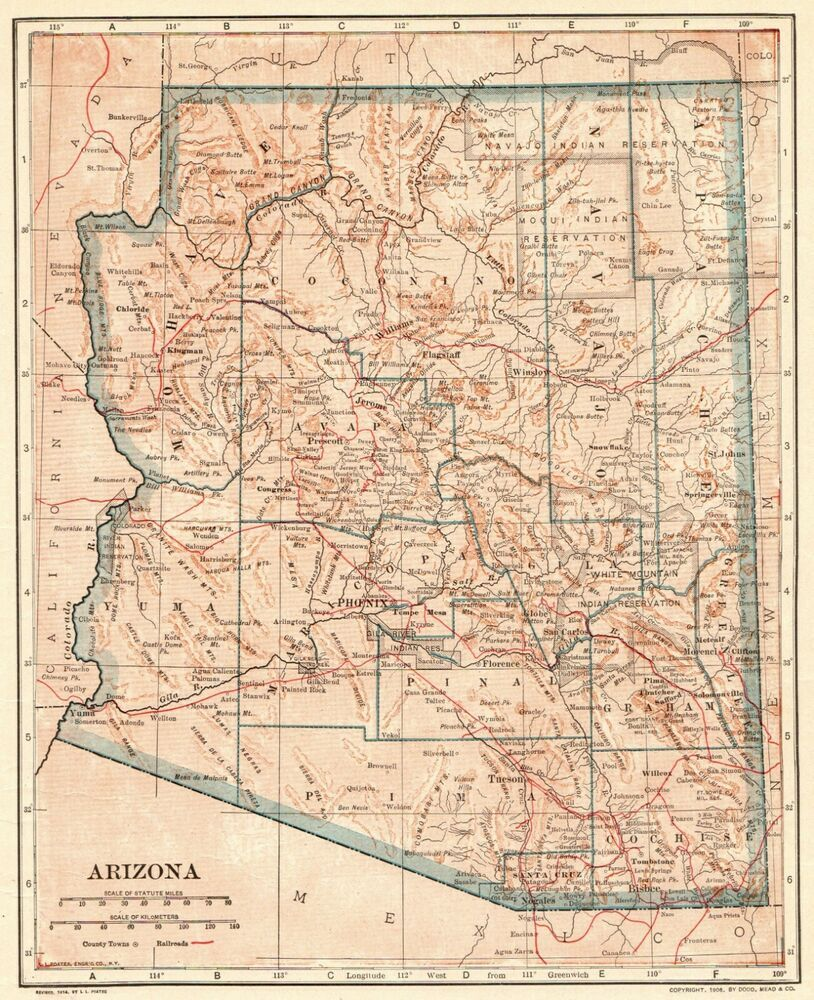 1914 Antique Arizona State Map Vintage Map Of Arizona Gallery Wall Art 7787 Arizona Map Arizona State Map Art Gallery Wall