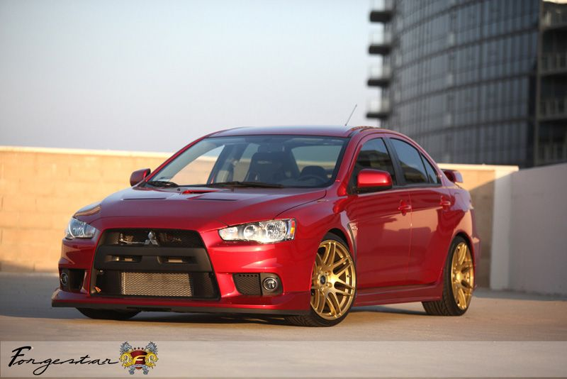 Mitsubishi Lancer Evolution X On Forgestar F14 Gold Wheels