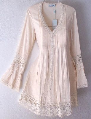 ee8c6baa4 nice New Long Ivory Crochet Lace Peasant Blouse Shirt Tunic Boho Top 8 10 M  Medium