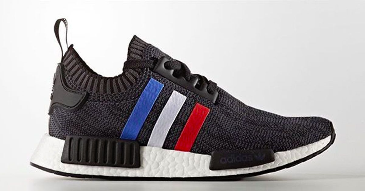 Adidas NMD R1 Primeknit Graphic Tri-Color Stripe PK BB2887 Black/Whit Sz 13