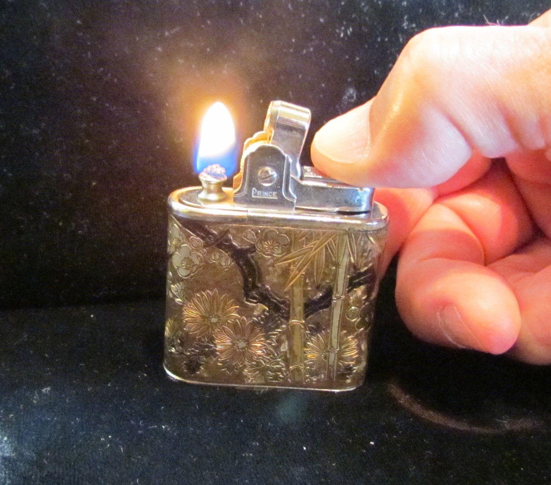 Vintage Lighter Prince Lighter Asian Lighter Cloisonne Lighter Pocket Lighter Cigargette Lighter Table Lighter WORKING LIGHTER