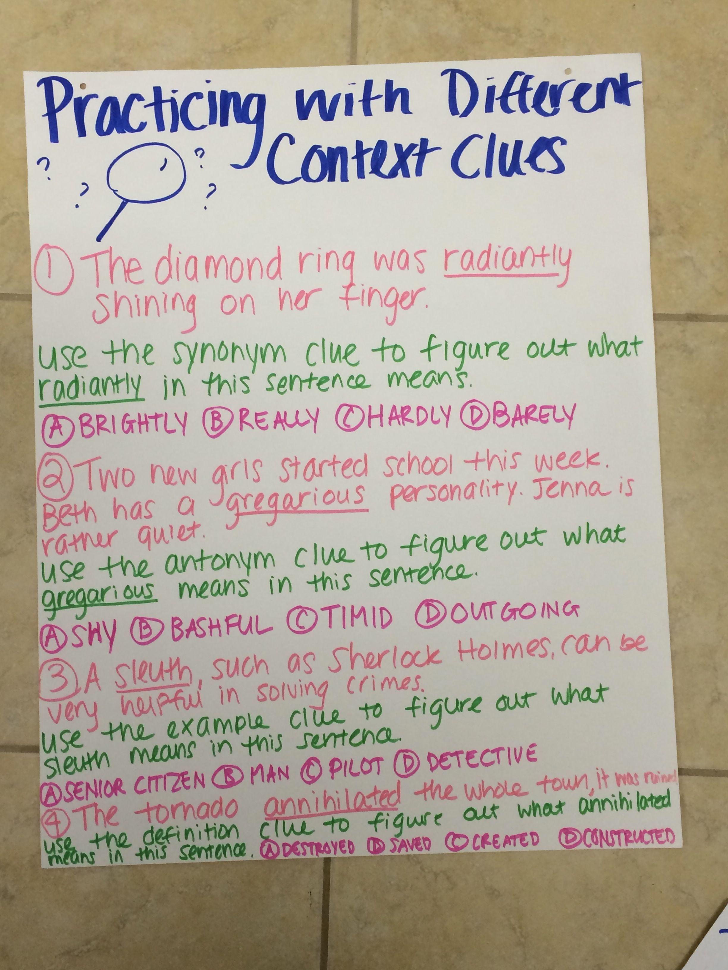 Context Clues- Anchor Chart | Context clues, 6th grade ...