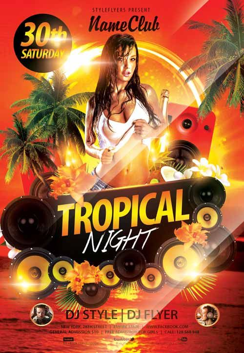 Tropical Night Free Flyer Template - http\/\/freepsdflyer - movie night flyer template