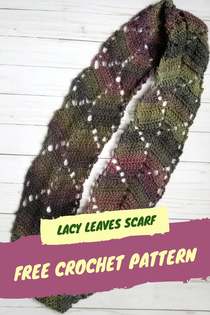 Lacy Leaves Scarf Crochet Pattern Hooks Sunshine Crochet