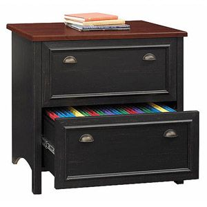 [Bush Stanford Lateral File Cabinet, Antique Black and Cherry] $199 at Target - 4 1/2 stars